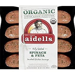 Aidells Organic Smoked Chicken Sausage, Spinach & Feta, 12 oz. (4 Fully Cooked Links)