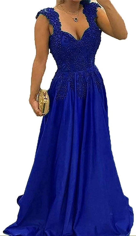 UZN Women's Cap Sleeve Open Back Evening Dresses 2018 Beaded Applique Prom Dress Long