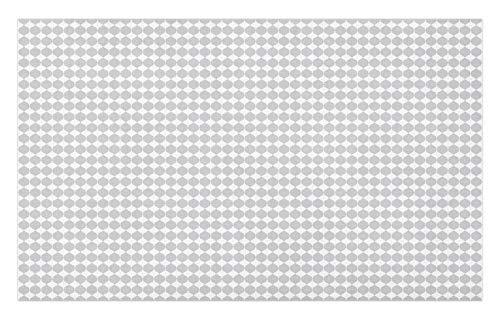 ABAKUHAUS geométrico Gris Tapete, Baldosa Mosaico de rombo, Decorativo con Fieltro de Poliéster Estampado Base Antideslizante, 45 cm x 76 cm, Gris y Blanco