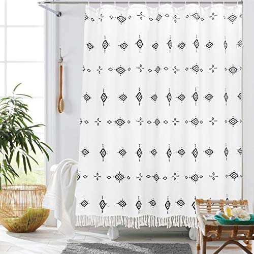 Uphome Fabric Boho Shower Curtain White Tribal Tassel Bathroom Shower Curtains Modern Geometric Moroccan Fringe Shower Curtain Set with Hooks Heavy Duty Waterproof,72x72