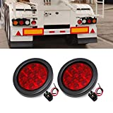 Ricoy 4inch 12-LED Rear Truck Trailer Brake Stop Turn Marker Tail Light Flush Mount Led Light, Waterproof Tight Sealed Grommet Hardwired RV marker light 12V (Red)
