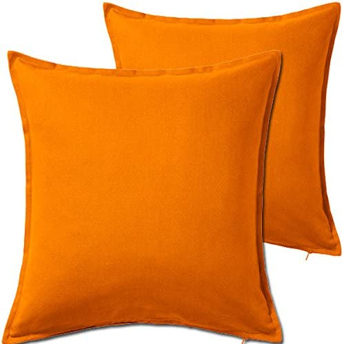 Best BHG 2 Pack Solid Orange Decorative Throw Cushion Pillow Cover Cushion Sleeve for 20