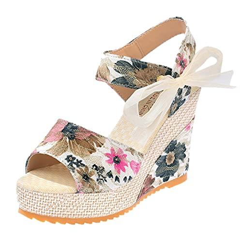 Zapatos de Boda Cena Sandalias de Vestir cuñas Esparto Sandalias Mujer Plataforma con tacón Verano 2021 tacónes Mujer Correa de Tobillo Abierto Floral Inclinarse Zapatos Mujer Matrimonio Ceremonia