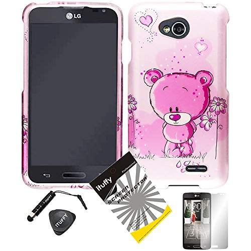 4 items Combo: ITUFFY (TM) LCD Screen Protector Film + Mini Stylus Pen + Case Opener + Lovely Pink Bear Flower Heart Design Rubberized Snap on Hard Shell Cover Faceplate Skin Phone Case for Prepaid Android Smartphone LG Optimus L70 MS323 Metro PCS / LG Optimus Exceed 2 VS450PP Verizon / LG Realm (Boost Mobile) LS620 / LG L70 Cricket (Pink Bear)