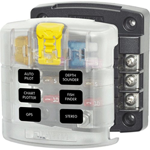Blue Sea 5028 ST Blade Fuse Block w/Cover - 6 Circuit Without Negative Bus Marine, Boating Equipment