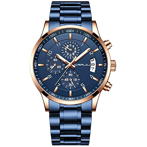 CRRJU Mens Watches Fashion Business Quartz Analog Auto Date Men's Watch Blue Stainless Steel Band Waterproof Chronograph Wrist Watch for Men