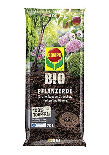 COMPO BIO Pflanzerde für Garten- und Zierpflanzen, Sträucher, Büsche und Gehölze, Torffrei, Kultursubstrat, 70 Liter, Braun