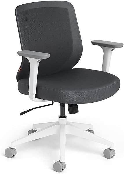 Poppin Dark Gray Max Task Chair Mid Back White Frame