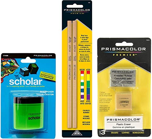 Bundle Prismacolor Blender Pencil Colorless, 2-Pack + Prismacolor 3 Eraser Set + Prismacolor Scholar Colored Pencil Sharpener