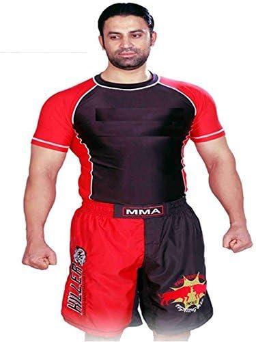 Two Tone Rashguard in Black/Red Half Sleeve Size XXS no Logo Gym Equipment Grappling, Kickboxing Rash Guards, Fighting, Muay Thai Training Rash Guards