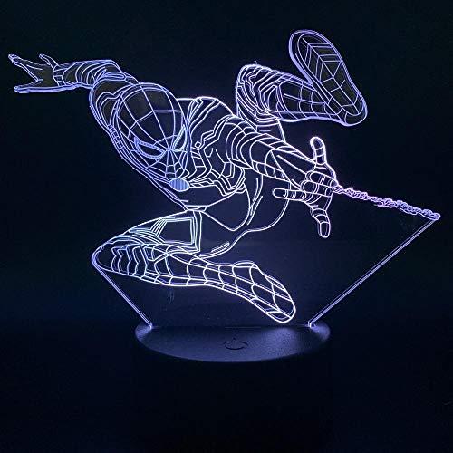 Superhelden Spiderman 3D-led-nachtlampje voor kinderen, uniseks, kleur touch illusie, tafellamp, baby, slaapkamer, kerstdecoratie, cadeau voor verjaardag