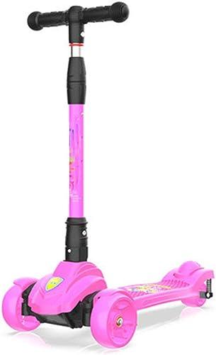 Kinderroller Dreiradscooter Mit Led Größe R r 2 Hinterr r-Design Stabil Sto mpfung Klappbar Einfach Mitzunehmen H verstellbarem Schwerkraftlenkung Ab 2 Jahre Bis 80kg Belastbar