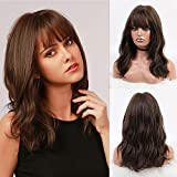 BOGSEA Wigs with Bangs Shoulder Length Wig for Women Short Wave Synthetic Heat Resistant Hair Wig for Daily Use (Brown)