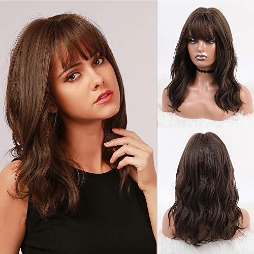 BOGSEA Brown Wig with Bangs Short Brown Wigs for Women Shoulder Length Wig Wavy Synthetic Wigs Medium Length Wig Brown Wigs for Daily Wear (18 Inch Brown)