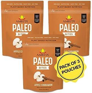 Amrita Foods - Apple Cinnamon Paleo Gluten-free Bites, Vegan, No Added Sugar, Dairy-free, 6 BitesPer Pouch,...