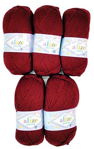 5 x 100g Strickwolle Alize Bebe einfarbig, 500 Gramm Wolle zum Stricken und Häkeln (Bordeaux 57)