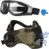 LAOSGE Airsoft Mask with Goggles, Foldable Half Face Airsoft Mesh Mask with Ear Protection, Military Tactical Lower Face Protective Mask (Green Snake)