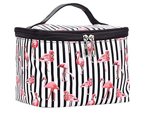 JooNeng Große Make-Up Taschen Reise Wasserdichte Kosmetiktasche Temperament Kosmetik Aufbewahrungstasche Tragbarer Waschbeutel Für Frauen, Weiß Flamingo