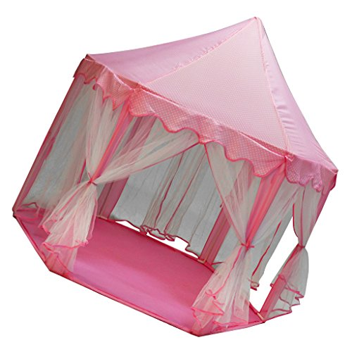 B Blesiya Prinzessin Spielzelt Spielhaus Kinderzelt Zelt Spielzeug mit Mongolei Stil, Geschenk für Mädchen - Rosa
