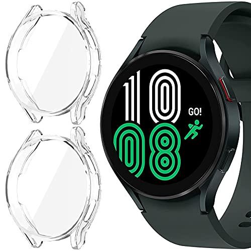 Jvchengxi Funda Compatible con Samsung Galaxy Watch 4 40mm Protector de Pantalla, [2 Piezas] Cobertura Total TPU Carcasa Protectora Antiarañazos Estuche para Galaxy Watch 4 40mm (Claro/Claro)