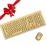 Standard Size Bamboo Wireless Keyboard and Mouse. Eco Friendly, Handcrafted, Standard Size Design + Bonus by TrioGato