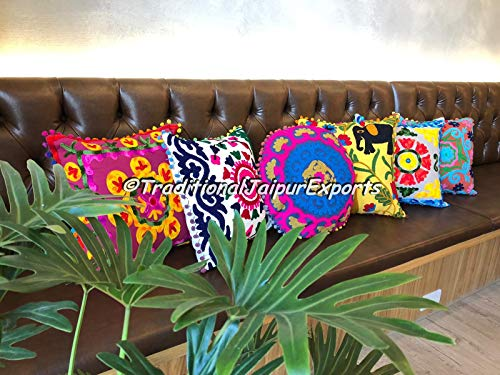 Sale!! Set of 6 Suzani Embroidered Pillow Covers, Boho Throw Suzani Cuhsions, Embroidered Cushion Co...