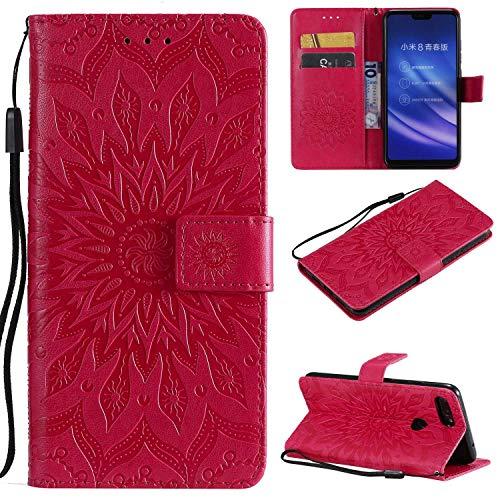 KKEIKO Funda para Nokia 7.1 Plus, Cartera Carcasa para Nokia 7.1 Plus, Funda de Cuero con Cierre Magnético y Soporte Plegable, Rojo