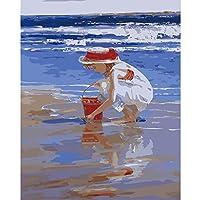 デジタル絵画キットDIYの子供と大人、クラブ、動物の風景画、フィギュア、アクリルブラシアート絵画誕生日プレゼント壁の装飾シェルを選ぶ女の子 -40x50cm