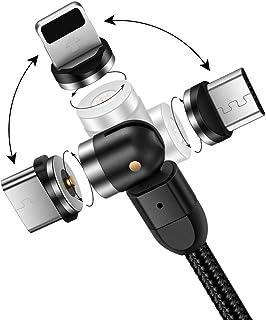 Cable de Carga magnético Cable USB con imán 3 en 1 Cable de Carga Giratorio 360°+180° 2.4A Cable magnético Trenzado de Nyl...