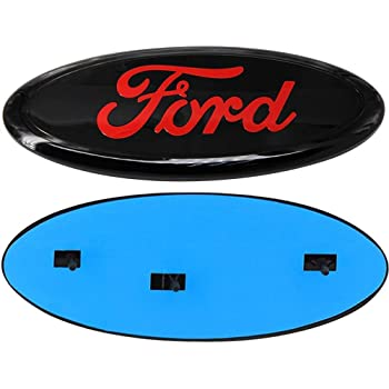 06-11 Ranger 11-14 Edge 11-16 Explorer ford decal 9 inch Cardiytools Front Tailgate Emblem,3D Oval 9 Inch Adhesive Black Decal Badge Nameplate for Ford 04-14 F150 F250 F350 Red