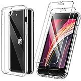 ivencase Funda Ultra híbrido Compatible con iPhone 7/8/SE 2020 Carcasa Trasera Anti-amarilleo con 2 Piezas de Vidrio Templado -Transparente
