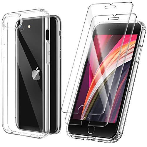 ivencase Cover Ultra Hybrid Compatibile con iPhone SE 2020/iPhone 7/iPhone 8 con 2 Pezzi Vetro Temperato, Anti-Ingiallimento Hard PC Retro, Paraurti Flessibile Cover Antiurto - Trasparente