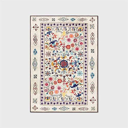 Effortsmy Alfombra americana de moda retro fresca colorida floral alfombra para sala de estar, dormitorio, cama, cocina, baño