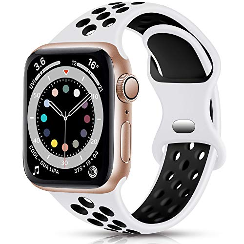 Epova Sport Cinturino in Silicone Compatibile con Apple Watch 44mm 42mm, Traspirante Cinturini di Ricambio per iWatch SE Series 6 5 4 3 2 1, Bianco/Nero, Piccolo
