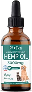Hemp Oil for Dogs and Cats (3000mg) - Organically Grown & Made in USA - Pet Relief Formula Relieves Anxiety, Supports Hip ...