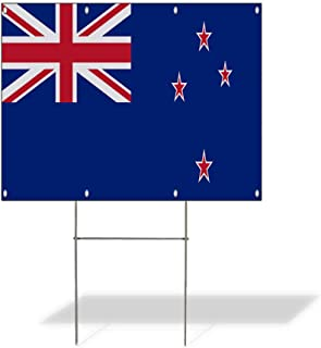 Plastic Weatherproof Yard Sign New Zealand Flag Blue Red New Zealand Flag Flags Blue New Zealand Flag for Sale Sign Multiple Quantities Available 18inx12in One Side Print One Sign