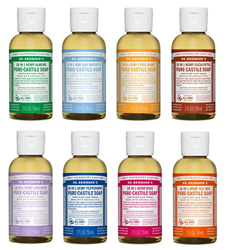 Dr. Bronner's - Pure-Castile Liquid Soap (2 Ounce Variety Gift Pack) Almond, Unscented, Citrus, Eucalyptus, Lavender, Peppermint, Rose, Tea Tree - Made with Organic Oils, For Face, Body and Hair