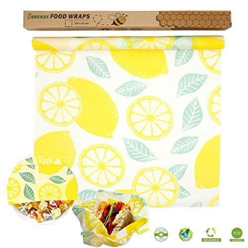 Bienenwachstücher,Wachspapier Natürliches bienenwachspapier Bees wrap wachspapier Bienenwachstücher für lebensmittel,für Käse, Obst, Gemüse und Brot (1 roll (100 * 30 cm))