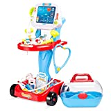 Best Choice Products Play Doctor Kit for Kids, Pretend Medical Station Set for Boys & Girls with Carrying Case, 17 Accessories Mobile Cart, LED EKG, Thermometer, Stethoscope, Pulse Machine