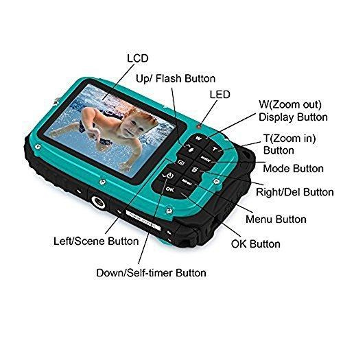 Waterproof Camera, Fitiger Underwater 10m 2.7 inch LCD Digital Camera 16MP 8x Zoom Cameras Waterproof Camera (Blue)