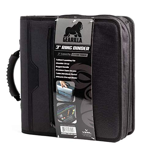Gearilla Large 3 Ring Binder with Zipper - 3' Blacked Out, O-Ring, Ultra Rugged and Durable Handle, Tablet/Laptop Sleeve, with Tactical Carrying Strap