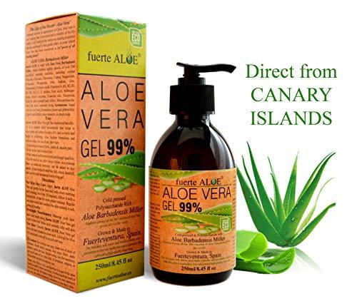 GEL Aloe Vera PURO 99% CERTIFICADO ORGANICO 100% Para CARA CUERPO CABELLO Deja PIEL Suave - 250 ml / 8.45 fl oz