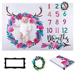Manta Bebé de Hitos Mensuales, ANSUG 100 x 130cm Mensual Niñas Bebé Franela Fotografía de Fondo para Bebé Recién Nacido…