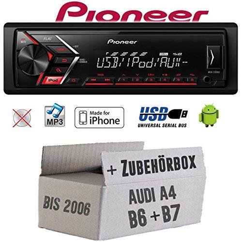 Autoradio Radio Pioneer MVH-S110UI - | MP3 | USB | Android | iPhone Einbauzubehör - EINBAUSET für Audi A4 B6 B7 - JUST SOUND best choice for caraudio