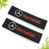 2Pcs voiture ceinture de sécurité Confort Pads velcro Voyage Mercedes-Benz logo