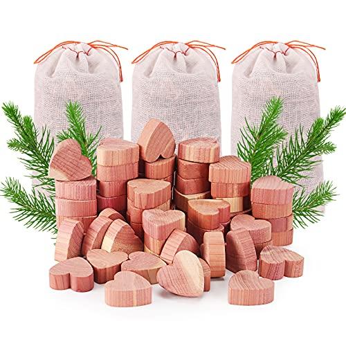 Yizhet Legno di Cedro Combo Pack antitarme Naturale, 3 Bonus bustine, 50 Blocchi di Cedro a Forma di Cuore,per armadi e cassetti