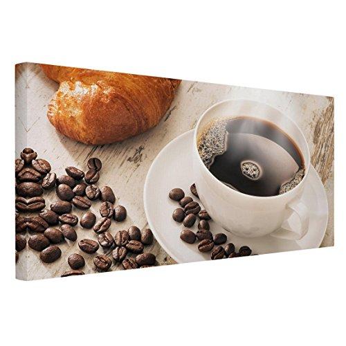 Bilderwelten Leinwandbild - Dampfende Kaffeetasse mit Kaffeebohnen - Quer 1:2, 50cm x 100cm