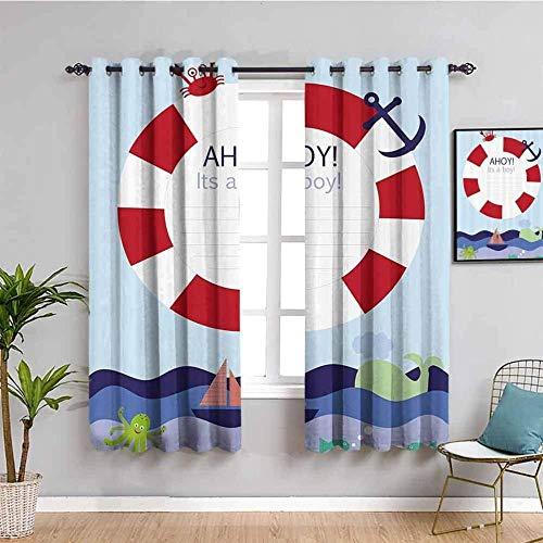 ZLYYH Cortinas Dibujos animados océano salvavidas 132x214cm Cortina opaca 95% cortinas opacas que bloquean cortinas para ventana para habitación de niños, sala de estar, dormitorio, juego de 2