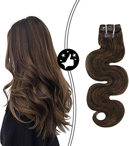 Moresoo Clip in Extensions Haarverlängerung Haarteil Echthaar Highlight Braun P2/8 Body Wave Clip in Human Hair Extensions 24Zoll 7Pcs/100Gram