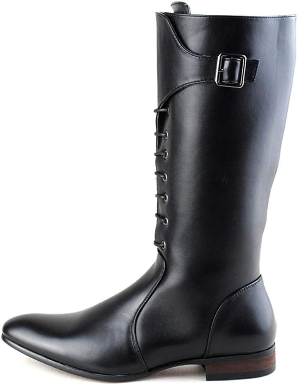 Dig dog bone Men's European Fashion Knee High Boots PU Leather Side Zipper Lacing Up Combat shoes